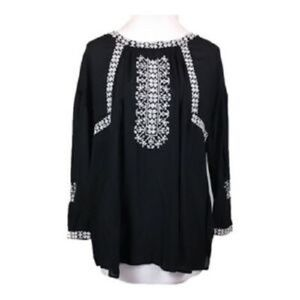 Lucky Brand Black Embroidered Peasant Blouse Top